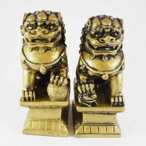 Feng Shui Pair Of Brass Fu Dogs Guardians Of Wealth With One Leg On Globe And Other On Small Fu Dog Repels Negativity & Protects Wealth,  Good For Entrances Of Businesses And Homes  YC-2FUD02