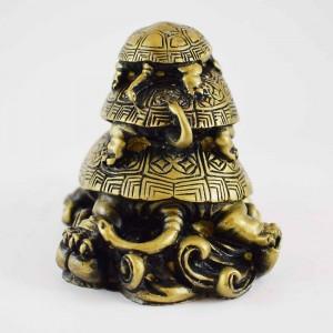 Brass Poly 3 Tier of Three Generation of Tortoise Symbolizes Longevity  YC-3GNTR