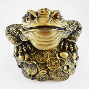 Big Size Brass Wealthy Money Frog On Treasure (Wealth And Good Fortune)  YC-BIGFG01