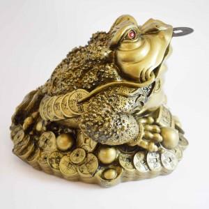 Big Size Brass Wealthy Money Frog On Treasure and Ingot YC16-BIGFG01