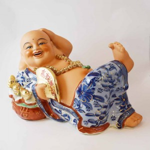 Big Size Porcelain Laughing Buddha in Blue robe with Fan and Ingot Lying on Wealth Bag Gold finishing CP16-SB