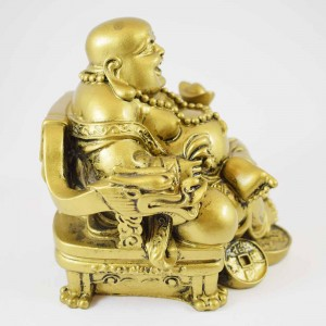 Bright Brass Color Poly Resin Laughing Buddha Sitting On Emperor Dragon Chair On Bed Of Coins Holding Money Bag And Ingot In Hand  YC-STB02