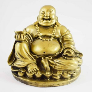 Brass Color Poly Resin Laughing Buddha With Wealth Bag Sitting On Treasure YC-STB05