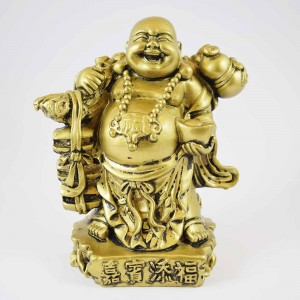 Brass Color Poly Resin Travelling Laughing Buddha On Base Holding Staff With Strings Of Treasure Bag Brings Prosperity Luck And Happiness YC-STNB01