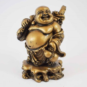 Brass Color Poly Resin Laughing Buddha With Wealth Bag On Staff And Bottle Guard  YC-STNB03