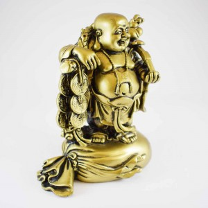 Brass Color Poly Resin Travelling Laughing Buddha On Treasure Bag Holding Staff With Strings Of Coins And Hat, Fruitful And Rewarding Journey