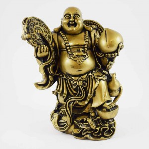 Big size Brass Laughing Buddha on Treasure Bag and Peach YC-STNBIGB01
