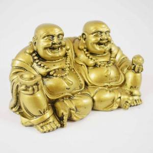 Brass Color Twin Conjoint Laughing Buddha Sitting With Ingot In Hand Brings Prosperity, Success And Financial Gains To The House YC-TWB01