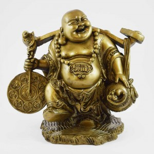 Big Size Brass Handmade Laughing Buddha With Ru Yi On Shoulder Carrying Large Coin And Wulou On Left YFM-BIGB04