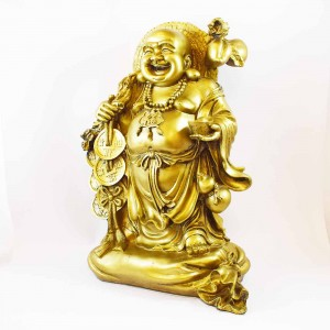 Brass Color Poly Resin Travelling 1.6 Feet Laughing Buddha On Treasure Bag Holding Staff With Strings Of Coins And Wearing Hat YXL-BIGB02