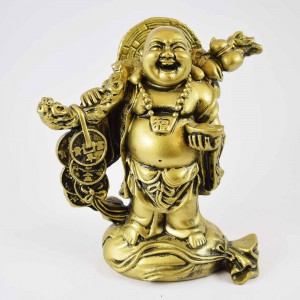 Brass Color Poly Resin Travelling Laughing Buddha On Base Holding Staff With Strings Of Coins And Wealth Bag Signifies A Safe, Fruitful And Rewarding Journey YXL-STN01
