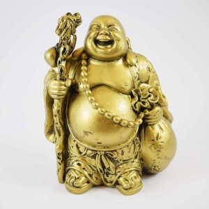 Brass Color Poly Resin Laughing Buddha With Wealth Bag On Staff And Bottle Guard And Mala Bead On Neck YXL-STN02