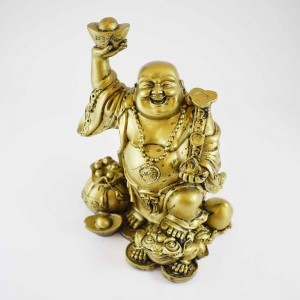 Brass Laughing Buddha On Frog And Coins With Overflowing Wealth Bag And Huge Peach Fruit At Back  XL-STN03