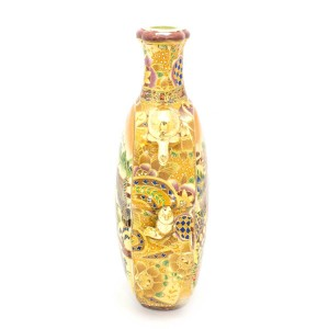 Ancient Vintage Satsuma Flower Vase Double sided With Golden Color Turtle Handles - CH14V-02