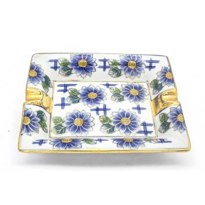 Chinese Oriental Design Square Astray Blue & White Flower And Strips Big - CHSQASHTR-005