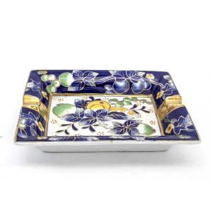Chinese Oriental Design Square Astray Blue & Green Flower Design Big - CHSQASHTR-006