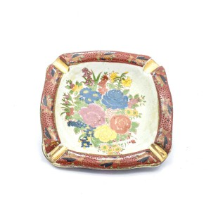 Chinese Oriental Design Square Astray Centre Flower With Red Edges Small - CHSQASHTR-007