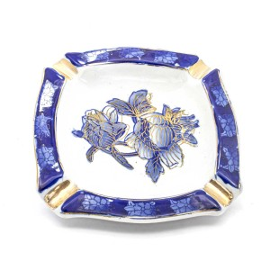 Chinese Oriental Design Square Astray Centre Blue Flower & Dark Blue Edges Big - CHSQASHTR-008
