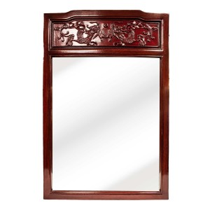 Dark Cherry Rosewood Asian Vertical Mirror With Carvings - CM