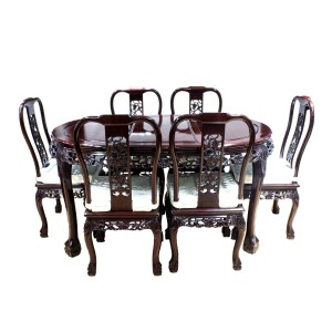 "Dark Cherry Solid Rosewood 60"" Dining Table Set 7 Pc Set Open Carvings Grape Art Tiger Paw Leg Design - DF-D010F/60"""