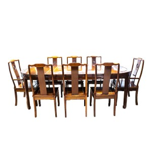 Solid Rosewood Chinese Longevity Oval Dining Set with 8 Chairs Natural Finish - DF-DA001A/96""