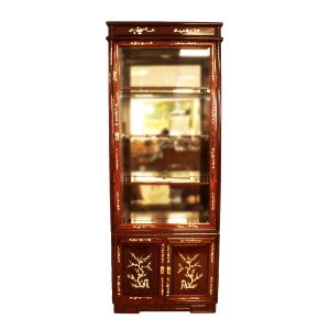 Solid Rosewood Asian Style Display Cabinet with Mother of pearls Inlaid Natural Finish - DF-H004E
