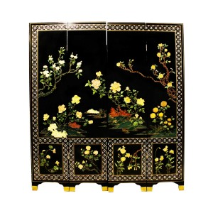 6 Feet Tall 4 Panel Lacquer Partition Screen Artificial Jade Flower Figurines With Mother Of Pearl Designed Corner Edges - ET BLP 4PANEL-01