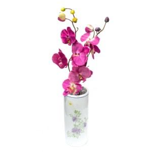 Asian Art Hand Crafted Cylindrical White Vase With Floral Design -  GY10V-01