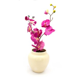 Asian Art Hand Crafted Bowl Shape Pink Flower Vase  -  GY6V-01