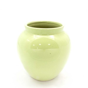 Asian Art Hand Crafted Bowl Shape Pistachio Green Flower Vase  -  GY6V-03