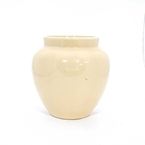 Asian Art Hand Crafted Bowl Shape Beige Flower Vase  -  GYV6-08
