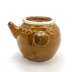 Ancient Asian Style Porcelain Side-Handle Teapot Or Yokode Kyusu Caramel Brown Color - GYTP02
