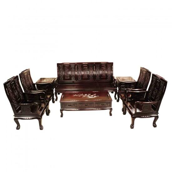 Solid Rosewood Highback Sofa Set 8 Pcs Set Dark Cherry Finish with Mother of Pearl Inlaid Tiger Leg Pattern -LK69-1001054/8C3.5