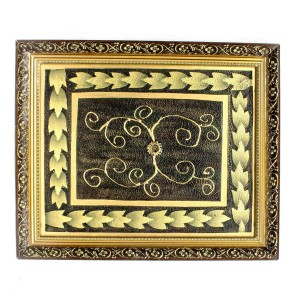 Handpainted Brown Golden Floral Design Art  Painted With Carved Framed Edges - HLNPPICTURE03