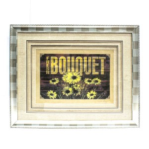 Handpainted Bouquet Printed Text Floral Design Art  Painted With Carved Framed Edges - HLNPPICTURE13