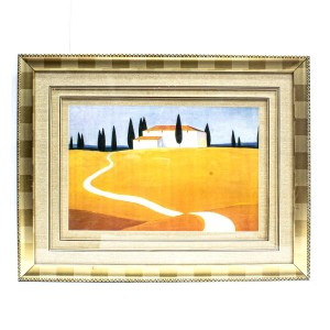 Handpainted House Painting With Scenery Wall Art  Painted With Carved Framed Edges - HLNPPICTURE15