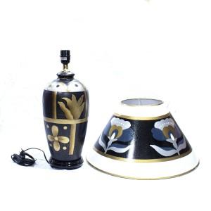 Porcelain Table Lamp with Shade For Bedroom Matte Black Golden Floral HLNT-04