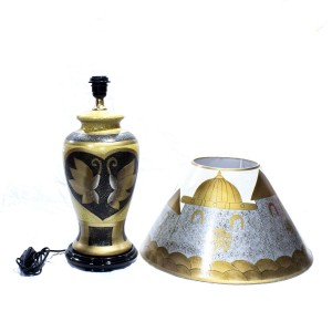Porcelain Table Lamp with Shade For Bedroom Golden Dark Brown HLNT-05