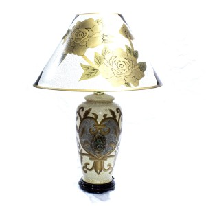 Porcelain Table Lamp with Shade For Bedroom White Golden Floral HLNT-06