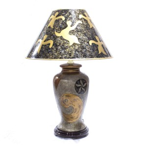Porcelain Table Lamp with Shade For Bedroom Grey And Golden Brown HLNT-03
