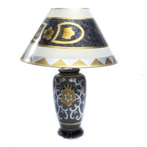 Porcelain Table Lamp with Shade For Bedroom Black Golden Floral HLNT-08