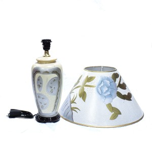 Porcelain Table Lamp with Shade For Bedroom White Golden Floral HLNT-07