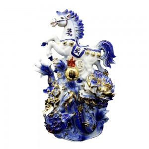 Chinese Home Decor Horse and Twin Dragon Ceramic Statue Small - LKHRDG02