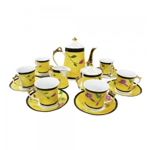 Ceramic Tea Set 15 Pc Set Yellow and Pink Flowers - LKJW-CF01