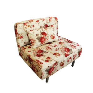 Single Seater Sofa Cum Bed Floral Design White Color - MDF MR802