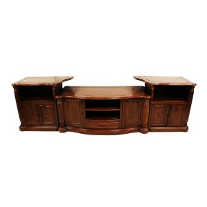 Rosewood 3 Section TV Unit Pillar Design Natural Finish YS-628