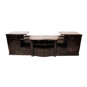 Rosewood 3 Section TV Unit Dark Red Cherry Finish LK07-004054