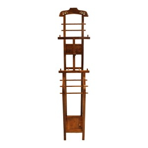 Mother Of Pearls Inlaid Rosewood Floor Standing Clothing Organizer Coat Hat Rack Cloth Hangers Display Rack  Natural Finish - LK 95-0013