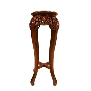 "Solid Rosewood Handcrafted 12"" Round Flower Stand Natural - LK 95-000321"
