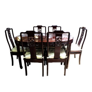 "Dark Cherry Solid Rosewood 38"" Dining Table Set 7 Pc Set Open Carvings Dragon Art Horse Shoe Leg Design - LFDT/38"""